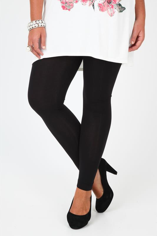 Black Cotton Elastane Full Length Leggings