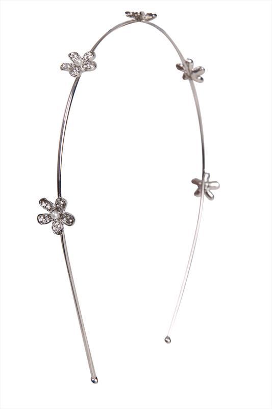 Silver Pearl Floral Headband