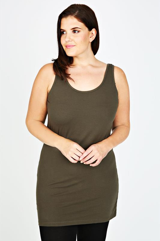 Khaki Cotton Longline Vest Top