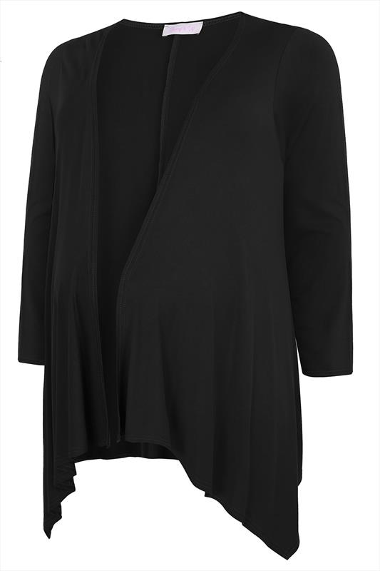 Bump It Up Maternity Black Waterfall Cardigan Plus Size 16