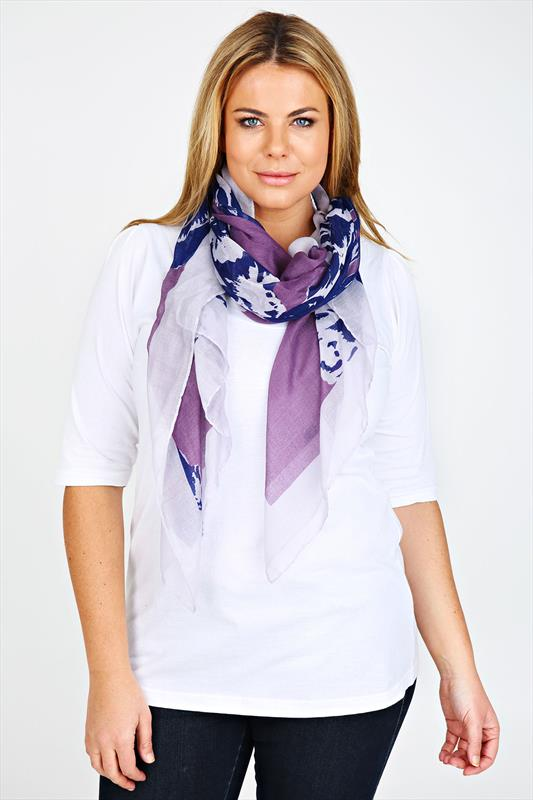 Purple Rose Print Scarf With Grey Border