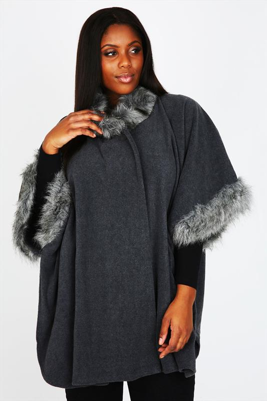 """плюс-сайз"" Wraps Grey Fleece Wrap With Faux Fur Neck And Cuff Trims"