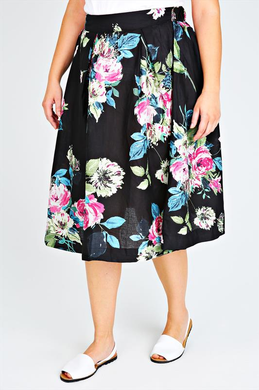 Black And Multi Floral Box Pleat Midi Skirt Plus size 16,18,20,22 ...