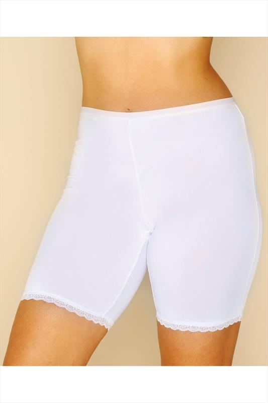 White Thigh Smoother Brief With Lace Detail Hem