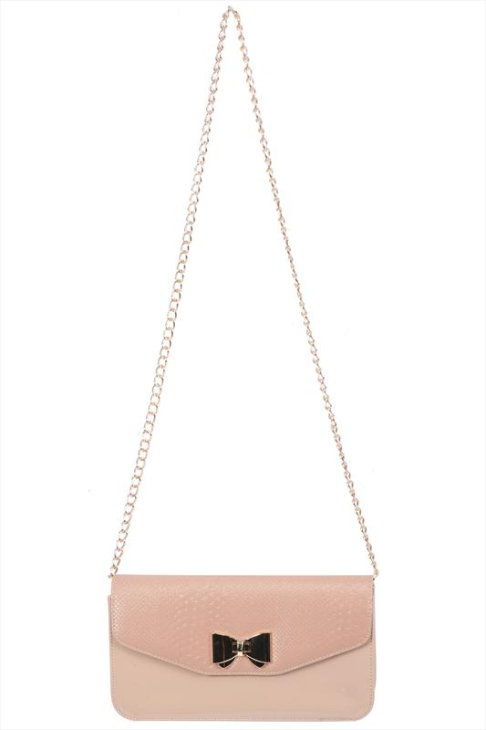Nude Patent And Snake Skin Shoulder Bag With Bow Clasp