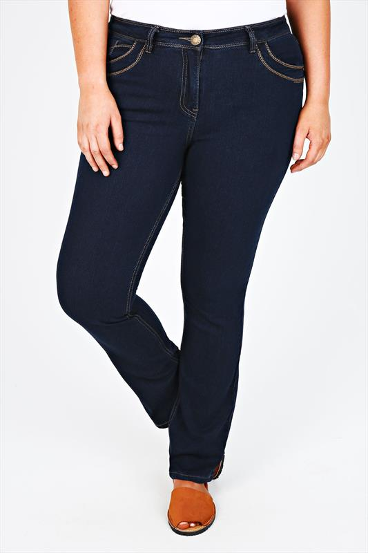 Indigo Straight Leg Jeans With Stitch Detail