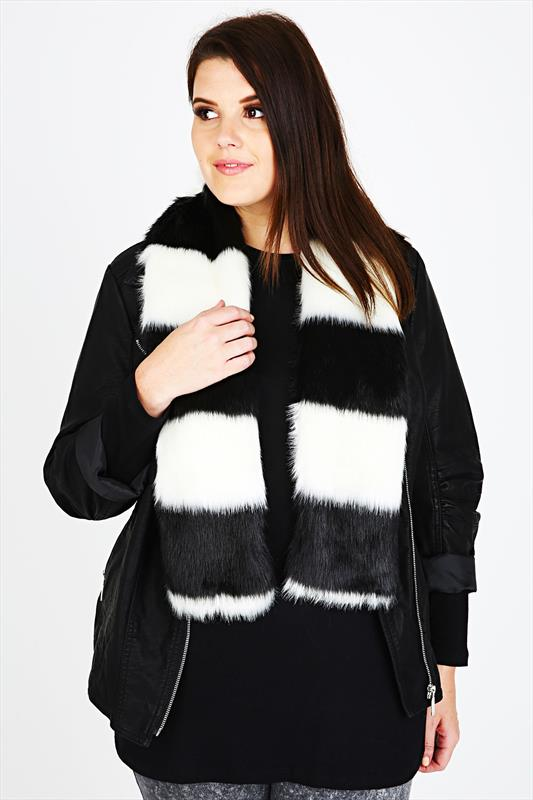 Black and White Faux Fur Stole Scarf With Silky Lining
