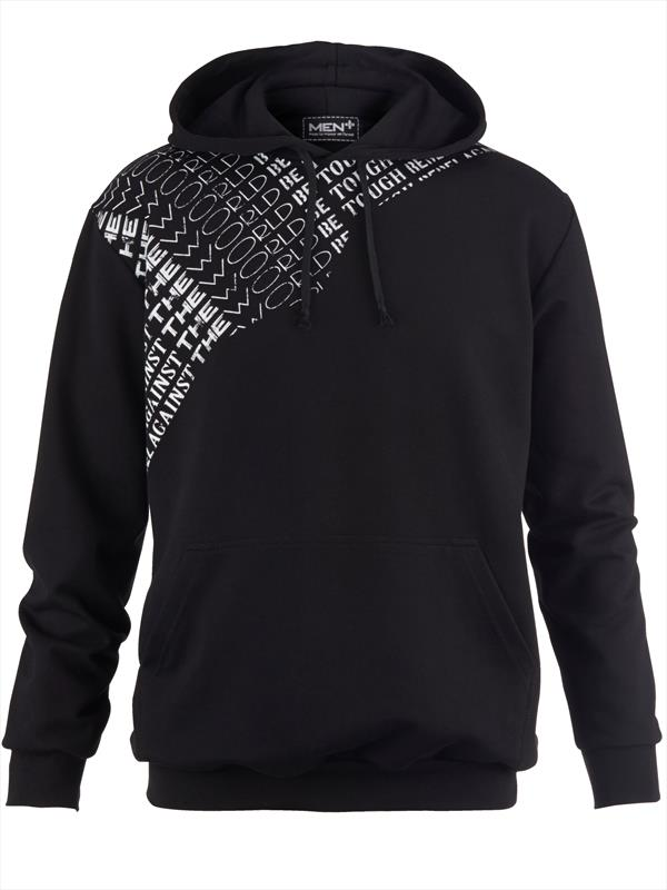 Black Hooded Sweatshirt With White Asymmetrical Text