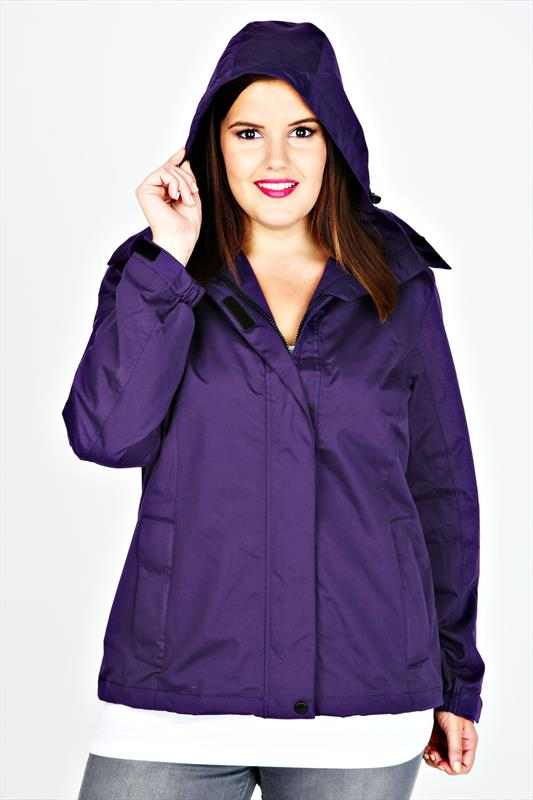 Purple Waterproof Rain Jacket With Removable Hood