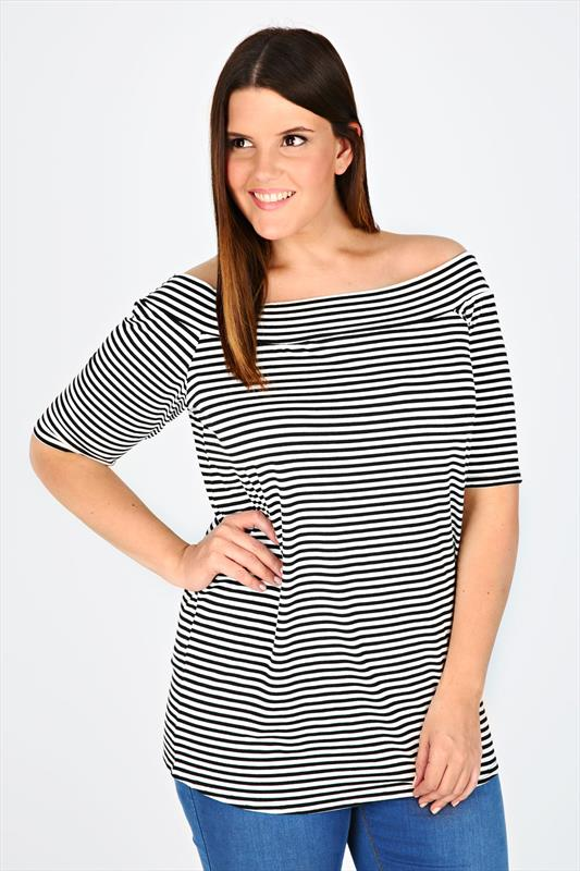 Mono Striped Stretch Jersey Bardot Top With Short Sleeves