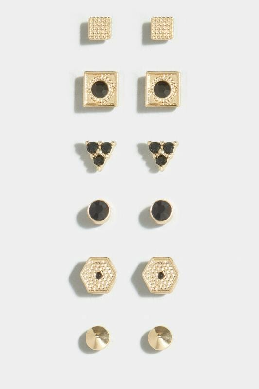 6 PACK Gold & Black Stud Earrings