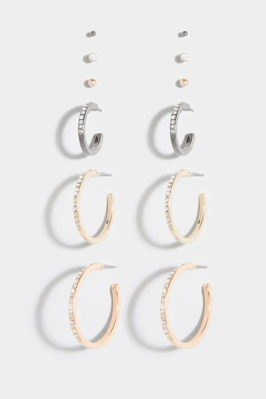 6 PACK Rose Gold Stud & Hoop Earrings