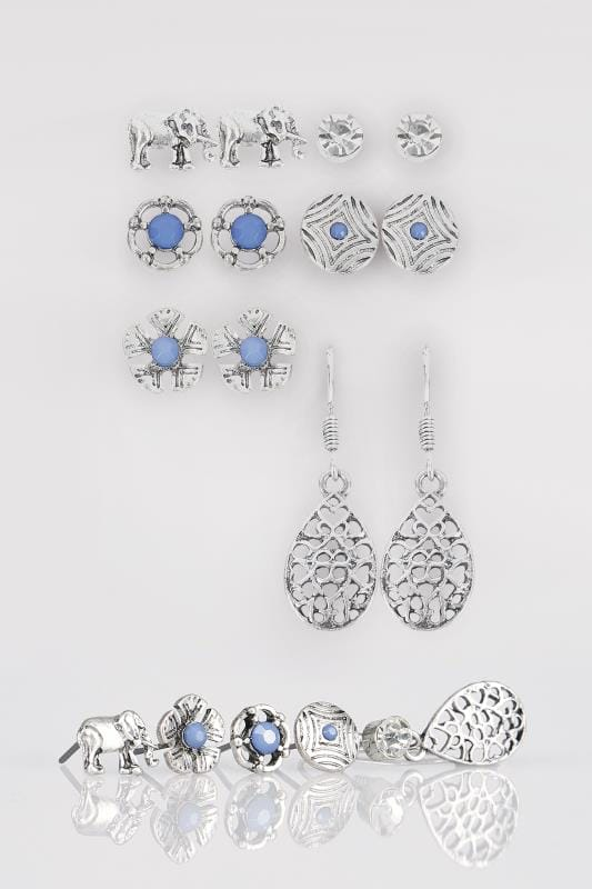 Plus Size Earrings 6 PACK Silver Earrings With Blue Stones