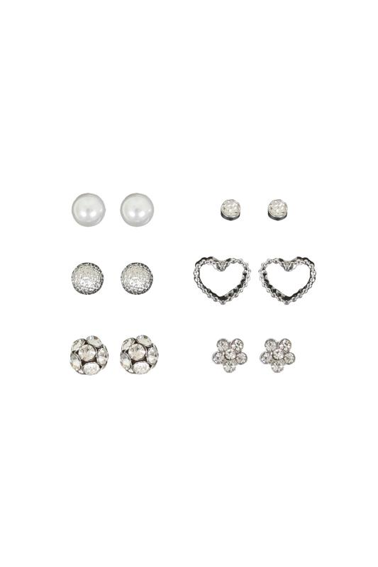 6 PACK Silver Stud Earrings