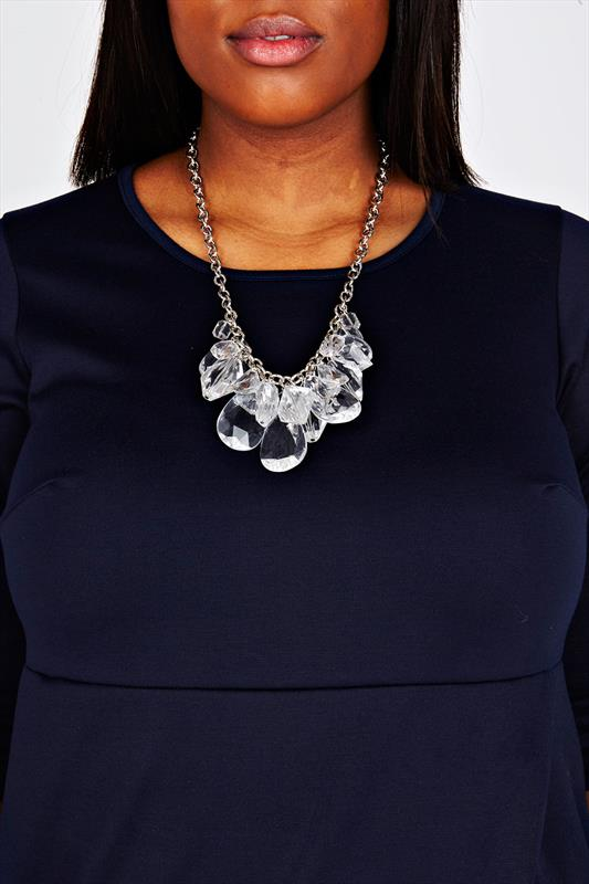 Silver Clear Beaded Statement Necklace
