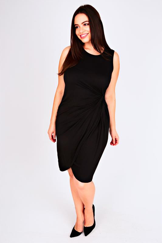 Black Sleeveless Jersey Wrap Dress With Twist Detail