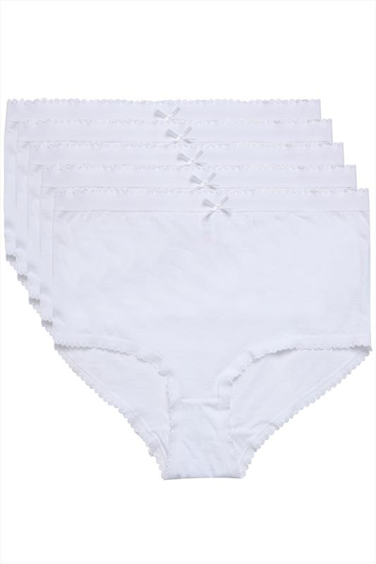 Briefs & Knickers 5 PACK White Cotton Full Briefs 014318