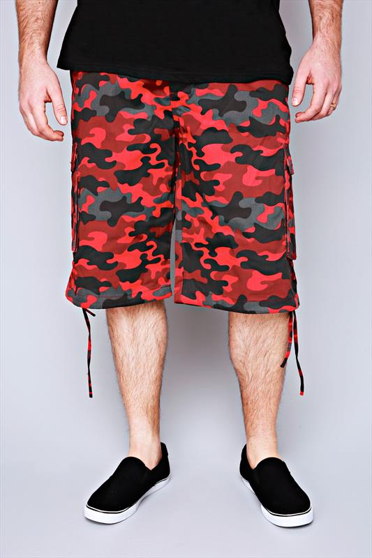 NOIZ Red & Black Camo Print Cotton Cargo Shorts With Pockets