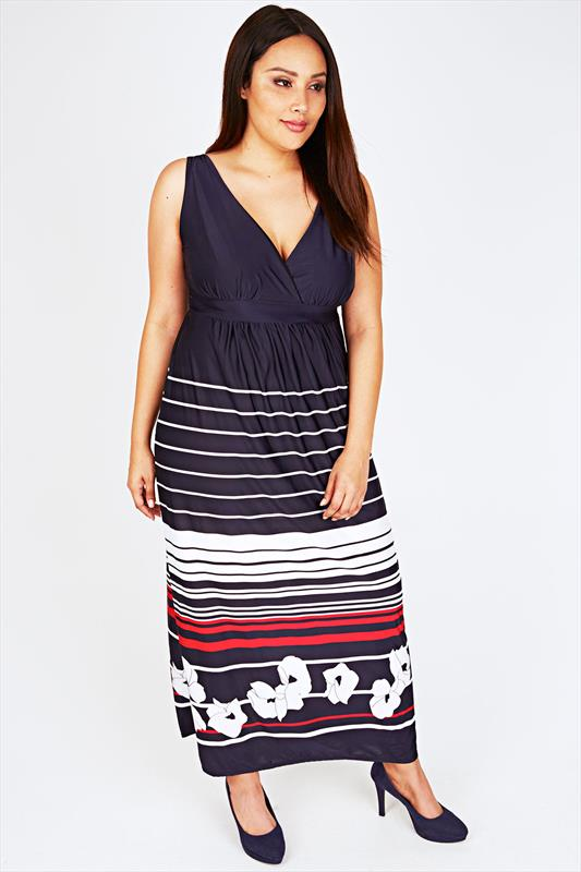 Navy Maxi Dress With White And Red Striped Floral Pattern