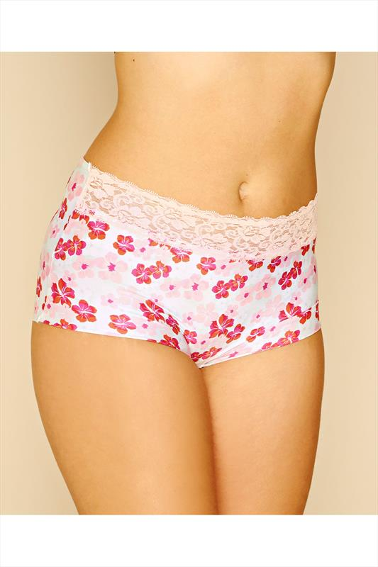 White & Pink Floral Print No VPL Brief With Lace Trim