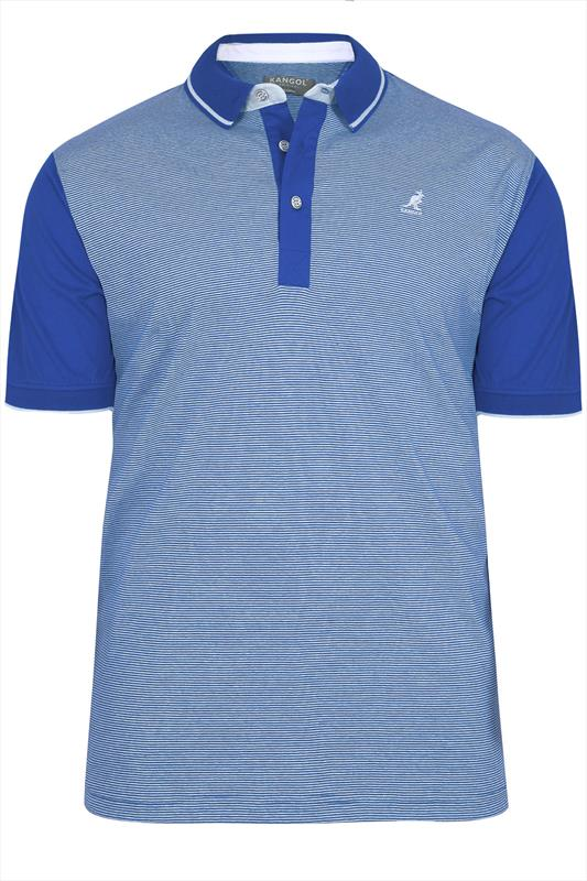 Polo Shirts Kangol Blue & White Striped Short Sleeve Polo Top 070333