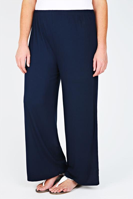 Navy Jersey Palazzo Trousers With Elasticated Waist