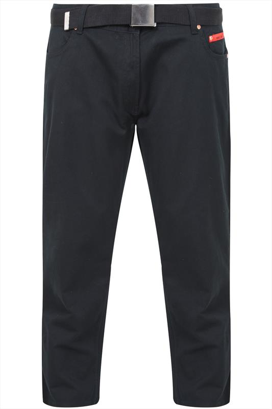 Duke Black Cord Trousers With Belt