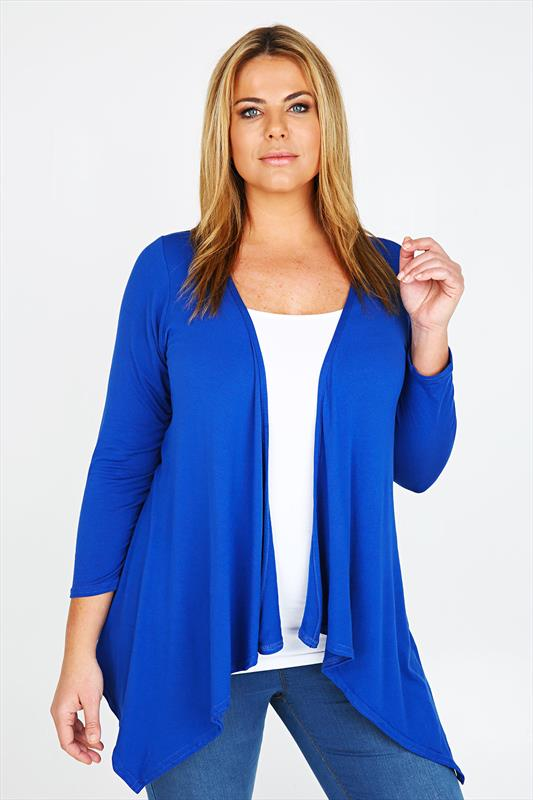 Cobalt Blue Waterfall Edge to Edge Cardigan Plus size 16,18,20,22 ...