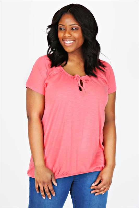 Coral Pink Plain Basic Gypsy T-shirt With Bubble Hem