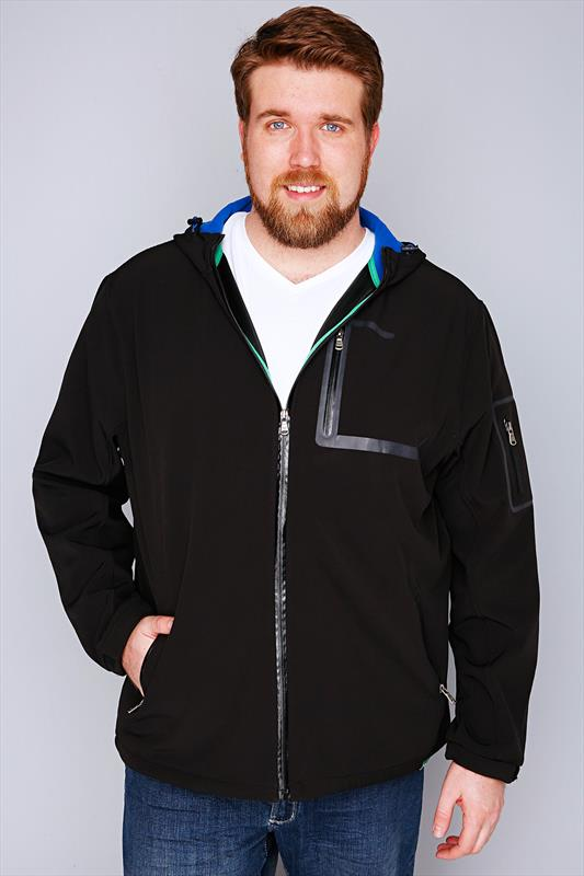 D555 Black Soft Shell Zip Up Coat With Hood