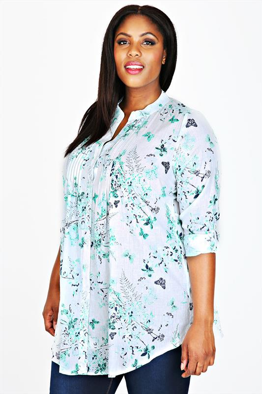 White & Green Floral Print Sequin Embellished Blouse