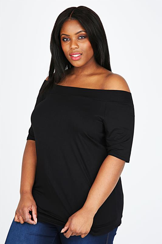 Black Stretch Jersey Bardot Top With Short Sleeves