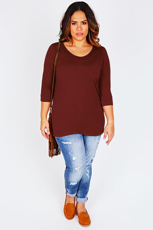 Burgundy Scoop Neckline T-Shirt With 3/4 Sleeves