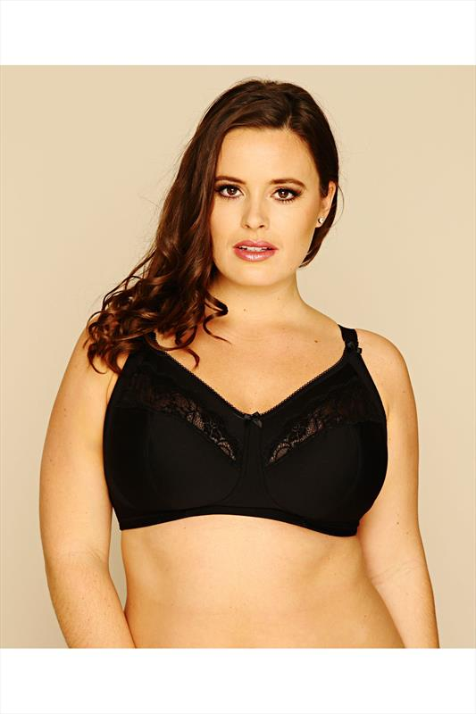 Black Cotton Rich Non-Wired Bra With Lace Trim