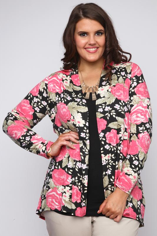 Pink And Black Floral Rose Print LATEST STYLE Kimono Shrug