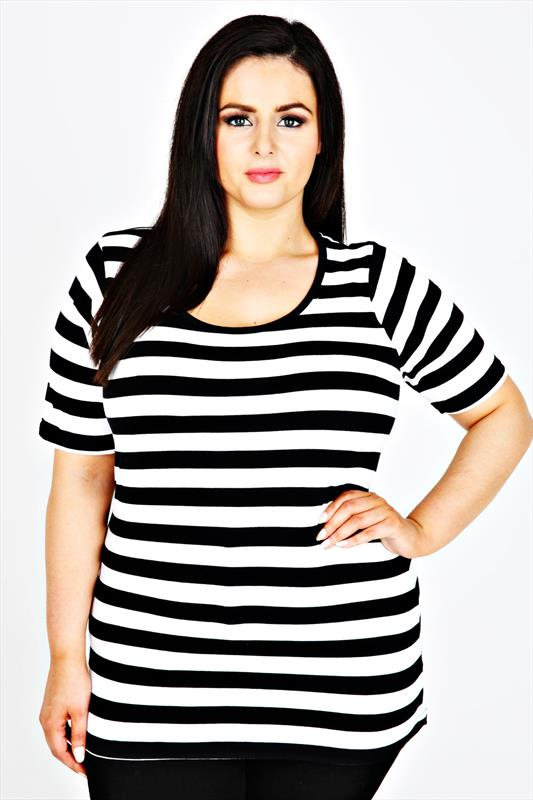 Black & White Striped Short Sleeve Scoop Neck Basic T-shirt