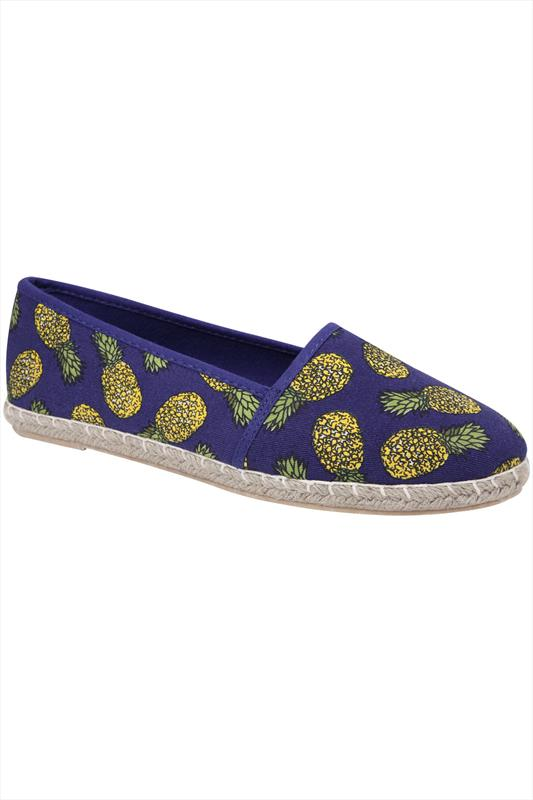 Blue Pineapple Print Canvas Espadrille Pump In EEE Fit