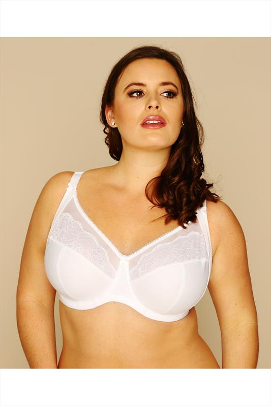 White Cotton Rich Underwired Bra With Lace Trim
