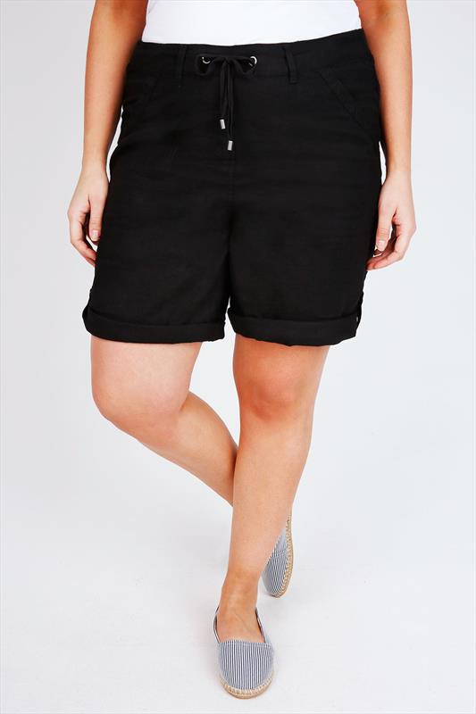 Black Linen Viscose Roll Up Shorts With Tab & Button Detail