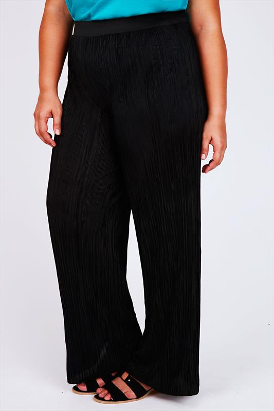 Black Plisse Pleated Palazzo Trousers With Elasticated Waistband