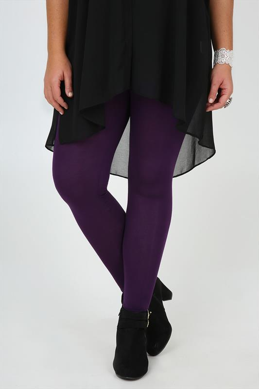 Purple Full Length Viscose Elastane Leggings