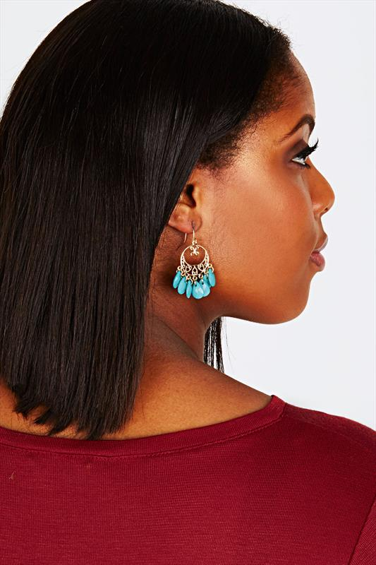 Turquoise & Gold Droplet Earrings