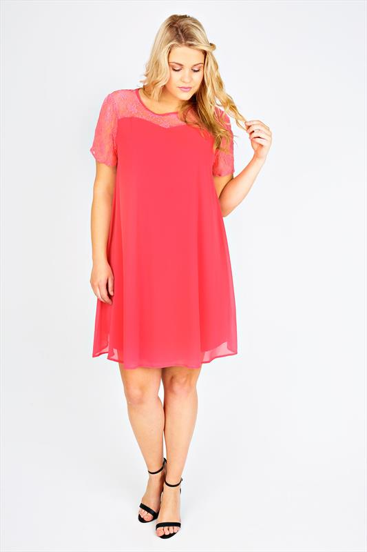 Coral Swing Dress With Contrast Sheer Lace Top Panel plus size 14 ...