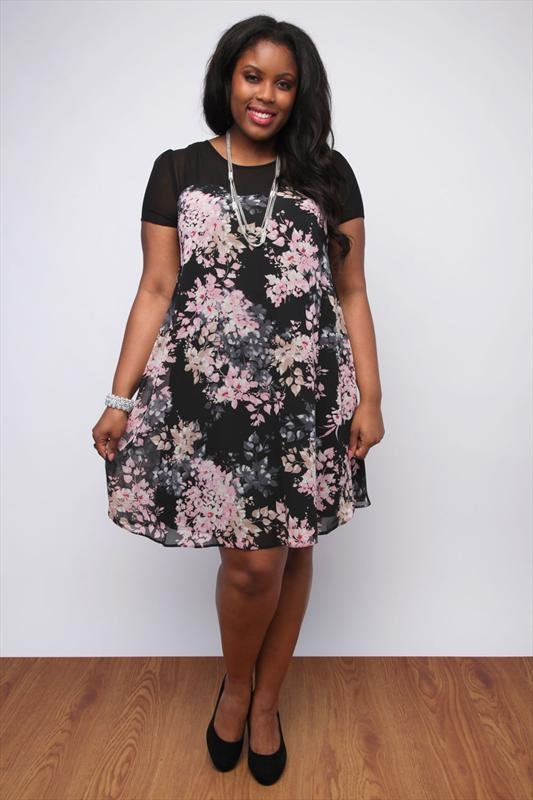Black And Pink Pastel Floral Swing Dress With Sheer Yoke