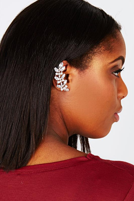 Silver Diamante Floral Ear Cuff