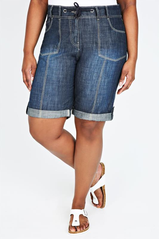 Rib Waist Blue Denim Roll Up Shorts