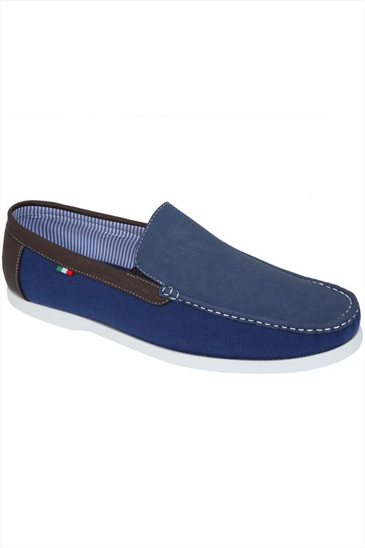 D555 Navy Canvas Slip On Shoes With Brown Trim