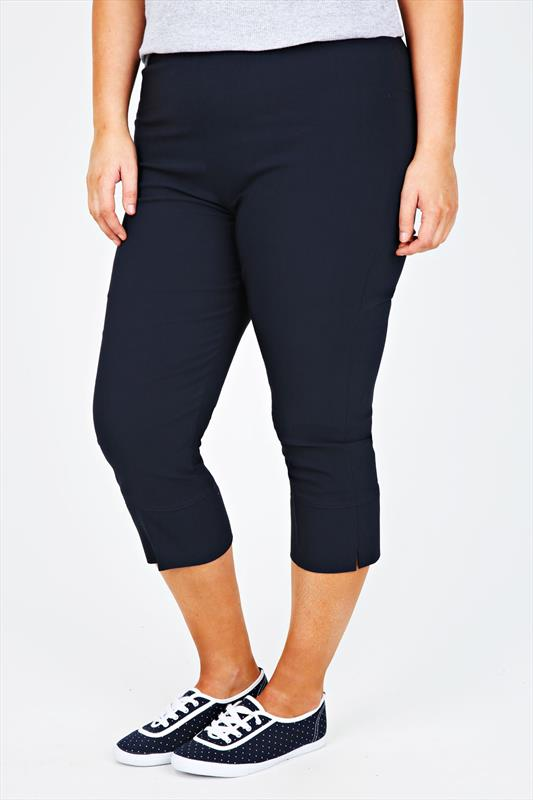 Navy Pull On Stretch Cropped Trousers
