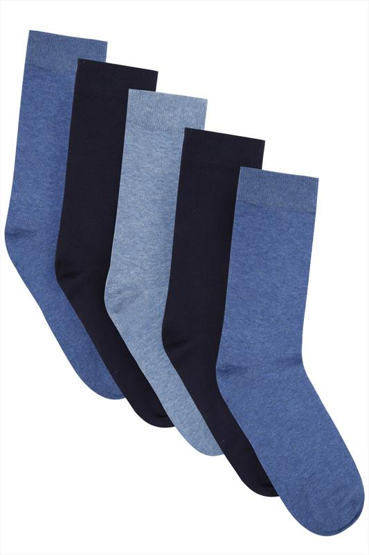 BadRhino Plain Blue 5 Pack Socks