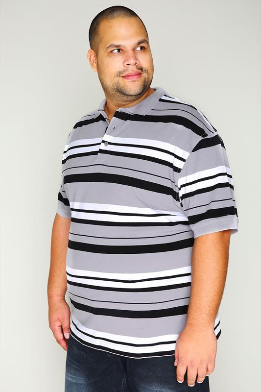 Grey, Black & White Stiped Short Sleeve Polo Shirt